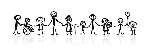 Familj tillsammans i olika åldrar