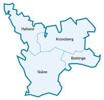 Karta över Södra sjukvårdsregionen