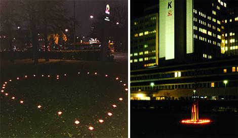Tända marschaller vid Skånes universitetssjukhus och Centralsjukhuset Kristianstad, till minne av personer som har donerat sina organ och vävnader.